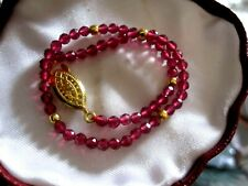 Beautiful sparkly 3mm faceted natural red tourmaline bracelet 8. inches