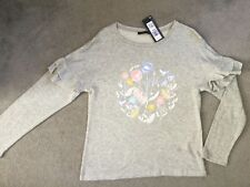 M&S GREY TOP WITH PASTEL FLOWERS IN CENTRE & RUFFLES ON EACH SLEEVE -SIZE 8 BNWT
