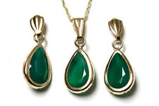 9ct Gold Green Agate Teardrop Pendant and Earring Set Made in UK Gift Boxed