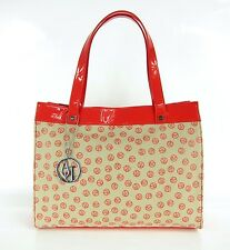 ARMANI JEANS Damen,Women,Bag,Tasche,Shopper,Bag,Rot,Red,Beige,Logo,lackiert,NEU,