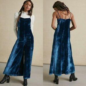NWT Anthropologie Maeve Andromeda Velvet Jumpsuit Dark Turquoise Blue Size 6