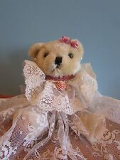 "7"" JOINTED Plush/Stuffed Bear With White Lace  Dress and Earrings"