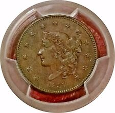1837 CORONET LARGE CENT HEAD OF 1838 ~ N-3 ~ PCGS AU 55 ~ SHARP DETAIL LOVELY