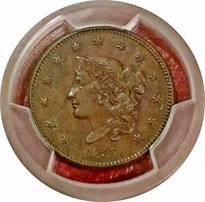 1837 CORONET LARGE CENT ~ N-3 ~ PCGS AU 55 ~ SUPER ALMOST UNCIRCULATED