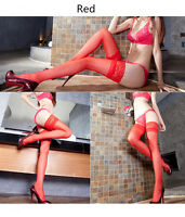 Women Sexy Sheer Hold-Ups Stockings with Lace Top 20D Thigh High Hosiery Tights