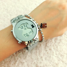 Women's Men's LED Stainless steel WristWatch Bear Watches Silvery
