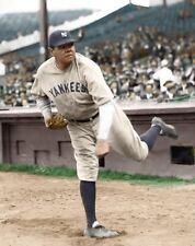 BABE RUTH YANKEES & BASEBALLS ALLTIME GREAT LEGEND 8X10 COLOR PHOTO