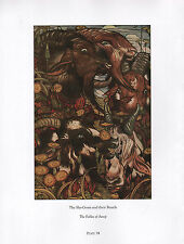 BEAUTIFUL VINTAGE BIRD PRINT THE SHE-GOATS THEIR BEARDS FABLES OF AESOP DETMOLD