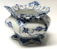 Royal Copenhagen Blue Fluted Full Lace Open Sugar Bowl 1112 Pierced 4-1/2 x 3 In