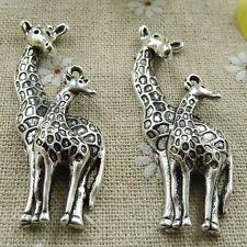 Free Ship 72 pieces tibetan silver giraffe pendant 55x20mm #286