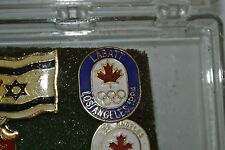 LOT OF 2 1984 LOS ANGELES Olympics  CANADA TEAM SPONSOR NOC Pin Badge WHITE BLUE
