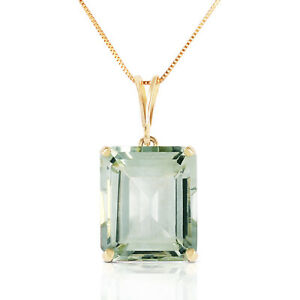 6.5 CTW 14k Solid Yellow Gold Necklace Octagon Green Amethyst