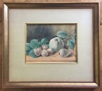 ANTIQUE AMERICAN SCHOOL ORIGINAL WATERCOLOR PAINTING ON PAPER / BOARD,19TH C