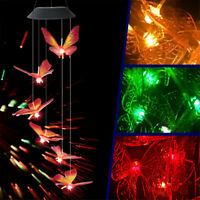 LED Solar Powered Color-Changing Butterfly Wind Chime Lights Yard Garden