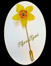 Daffodil Flower Pin Brooch /Safety End....Gold Tone...Yellow/ Bright Orange