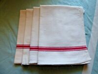Vintage French Linen Torchon Tea Towels Set of 4 with hanging loops