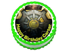 Fallout 4 vault door party decoration round edible party cake topper cake image