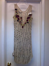 Corey Lynn Calter Sheer Beaded Silk Slip Dress with Floral Detail Sz 4 NEW NWD