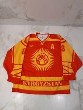 IIHF KYRGYZSTAN GAME WORN USED RED JERSEY #88 TRISHKIN  .