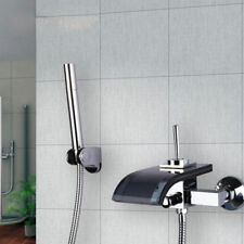 Bathroom Chrome Black Glass Waterfall Spout Tub&Shower Mixer Faucet and Hand Tap