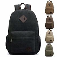 Canvas Men Women Vintage Backpack Rucksack Laptop Shoulder Travel Camping Bag