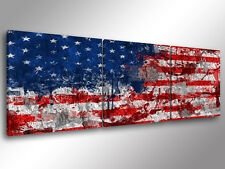 Quadro Moderno 3 pz. OLD AMERICAN FLAG cm 150x50 bandiera USA stampa su tela