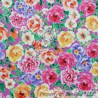 BonEful FABRIC FQ Cotton Quilt Pink Yellow Purple Silver Rose Flower Shabby Chic
