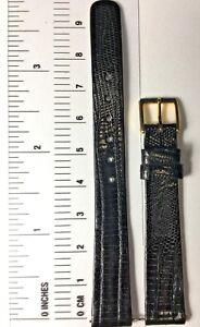 Vintage Lassale Lizard Strap / Black / 12 mm / Gold Buckle