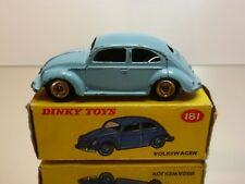 DINKY TOYS 181 VW VOLKSWAGEN BEETLE - BLUE 1:43 - GOOD CONDITION IN FAIR BOX