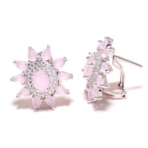 """Madagascar Rose Quartz & White Topaz 925 Sterling Silver Earring 0.90"""" T864"""