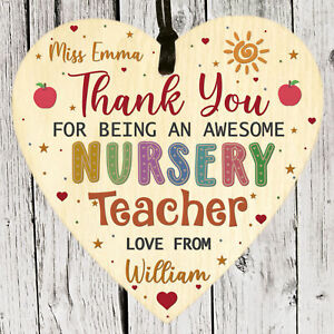 Personalised Thank you Gift for Nursery Teacher Leaving School Apple Plaque 2021