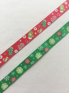 Christmas ribbon 15mm GROSGRAIN RIBBON Eco present wrapping decoration festive