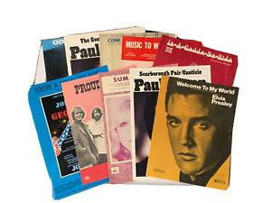 Lot of 10 Sheet Music 1960's Paul Simon - Elvis Presley - CCR