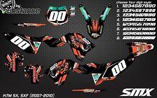 KTM SX SXF 2008 2010 MX Motocross Gráficos Kit Calcomanías Pegatinas 2009 SXF 250 450