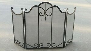 FRENCH PROVINCIAL FIRE SCREEN guard antique brown WROUGHT IRON QUALITY NEW