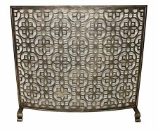 Neiman IRON Gate Geometric Floret Curve FIREPLACE SCREEN Light Burnished Gold