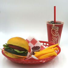 Fake Food Diner Car Hop Cheeseburger Fries With 70s Coke Cup Basket Free Ship