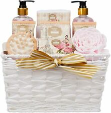 9 Piece Luxury Relaxing British Rose Body & Bath Spa Essentials Basket Gift Set