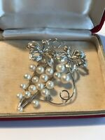 stunning vintage Cultured PEARLS sterling silver brooch ~ Hongkong boxed