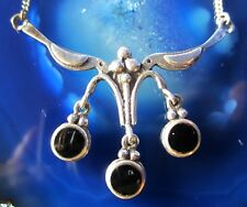 2 Located --Leaning Birds Hold Drop Onyx Necklace Sterling Silver 925
