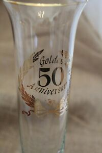50th Anniversary  Glass Bud Vase 8 1/4 in high