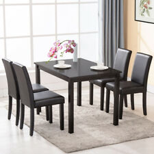 Set of 4 Dining Chair Kitchen Dinette Room Black Leather Backrest Elegant Design