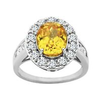Ring with Yellow & White Swarovski Zirconia in Sterling Silver