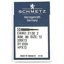 10 Pk. Schmetz 206X13 HPX13 Size 12 Flat Shank Needles For Singer 206, 306, 319