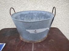 Ancienne bassine lessiveuse zinc vintage déco jardin pot  fleur galva brocante 1