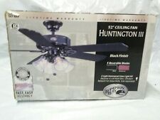 "Hampton Bay Huntington III 52"" Ceiling Fan 5 Blades Black Finish w Light Kit"