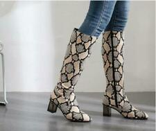Womens New Fashion Animal Printed Crystal Heel Riding Knee High Boots Shoes OKII