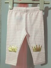 New Without Tags Baby Girls Gap Pink Striped Gold Crown Leggings 6-12m👑