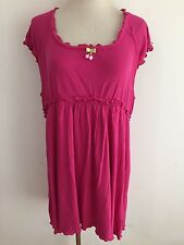 Betsey Johnson Betseyville Scoop Neck Knit Blouson Tunic Top Dress Fuchsia  XXL