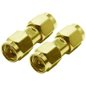 2x SMA Male Plug to SMA Male Plug Straight Connector UK Seller